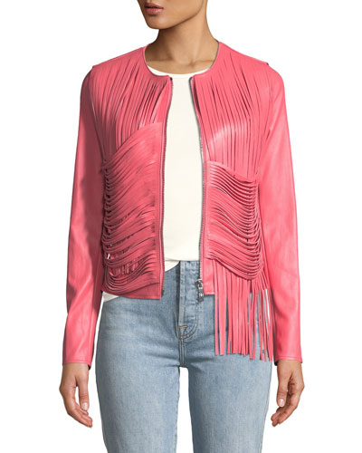 Retrograde Leather Fitted Jacket with Draped Fringe