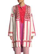 Liraz Striped Open-Front Caban Jacket with Embroidered Yoke