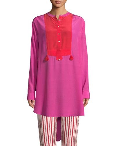 Thalie Long-Sleeve Colorblock Silk Tunic Shirt