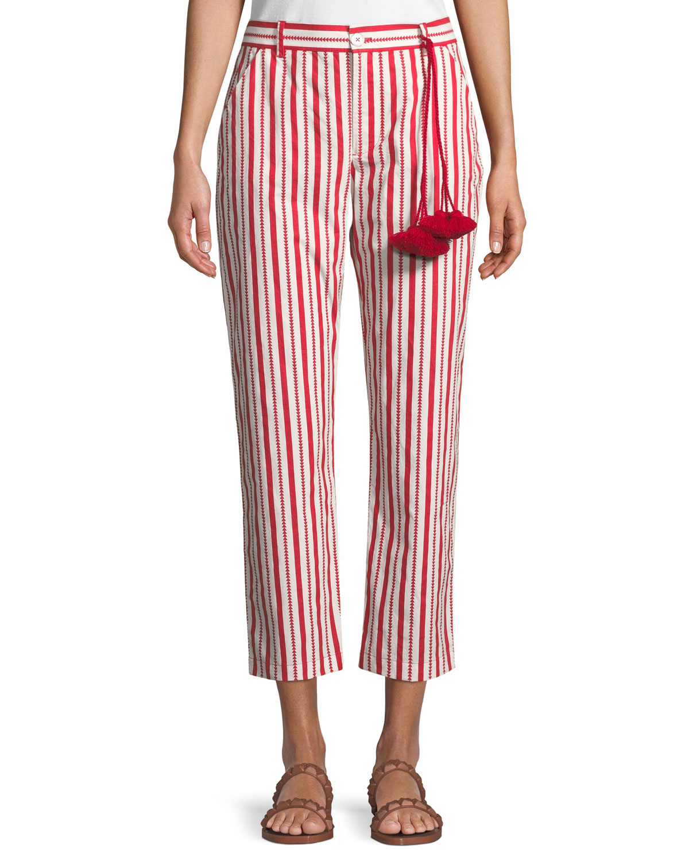 Zuri Straight-Leg Striped Cotton Ankle Pants