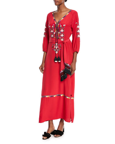 Lulu Embroidered Silk Tie-Waist Maxi Dress