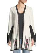 Myra Fringed Wrap Embroidered Kimono Jacket