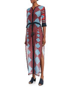 Ira Zip-Front Drawstring-Waist Multi-Print Long Dress with Pompom Trim