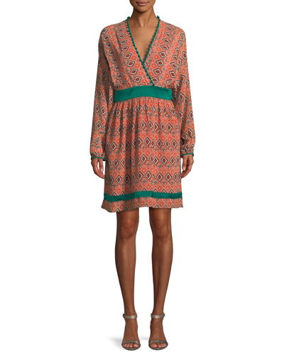 Almasi-Print Short Kimono Dress with Pompom