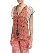 Almasi-Print Split-Neckline Kimono-Sleeve Frill Silk Top