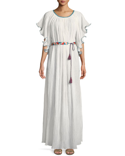 Zuri Kimono-Sleeve Belted Cotton Long Dress w/ Embroidery