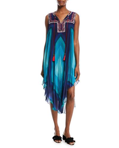 Tassel-Neck Sleeveless Multicolor Pleated Dress w/ Painted-Beaded Trim