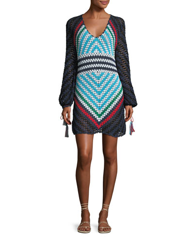 Long-Sleeve Scoop-Neck Hand Crochet Mini Dress