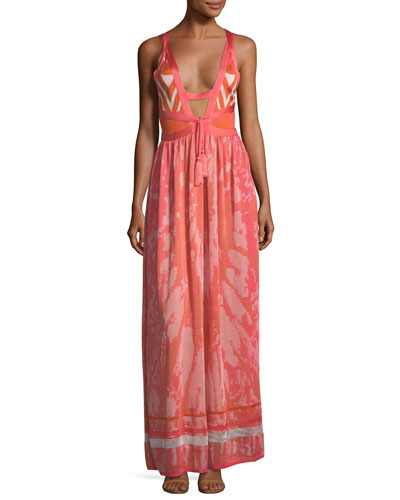 Plunging Tie-Dye Camisole Maxi Dress