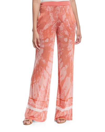Tie-Dye Textured Semisheer Wide-Leg Pants