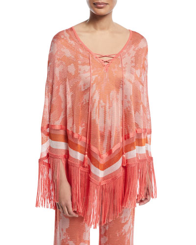 Tie-Dye Poncho Top with Fringe Hem