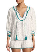 Zoey Embroidered Tassel-Tie Top