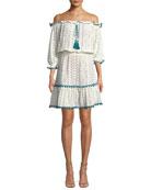 Leya Off-the-Shoulder Embroidered Cotton Gauze Dress