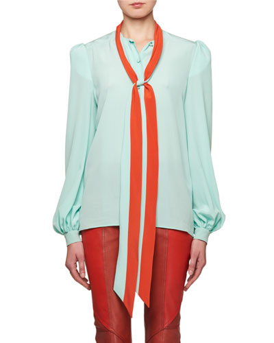 Tie-Neck Long-Sleeve Silk Crepe de Chine Blouse
