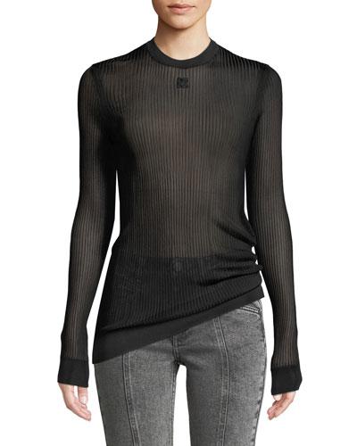 Crewneck Long-Sleeve Sheer Ribbed Knit Top w/ 4G Logo