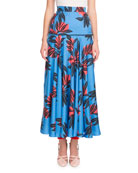 Floral-Print Silk Fluted Long Skirt