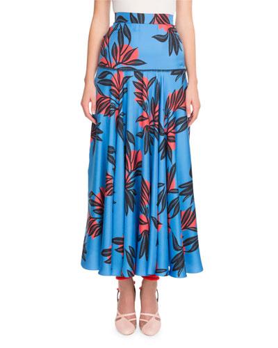 Floral-Print Silk Fluted Long Skirt