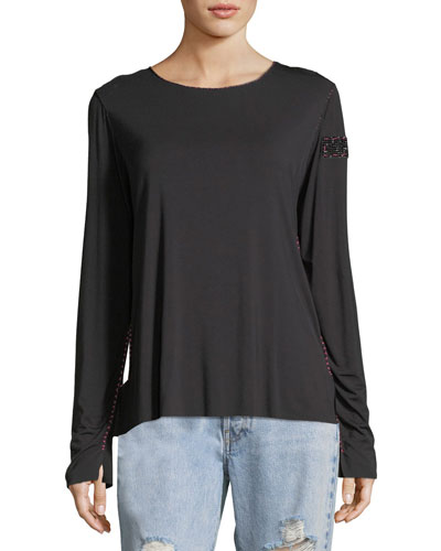 MADE ON GRAND Crewneck Long-Sleeve Top With Topstitching & Beaded Trim in Black
