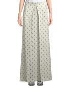 Floor-Length Hammered Lamé Rose-Print A-Line Skirt