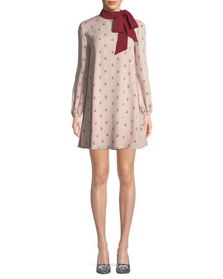 Valentino Long-Sleeve Rosebud Silk Georgette Dress w/ Scarf