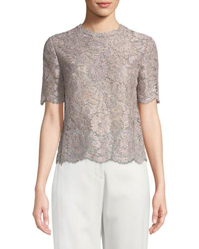 Short-Sleeve Lurex® Metallic Lace Blouse