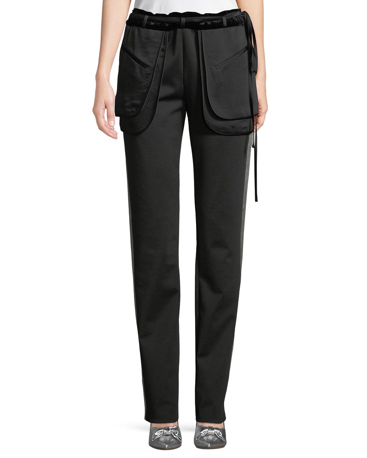 Inside-Out Pocket Satin Tech Jersey Straight-Leg Pants
