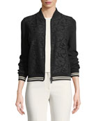 Long-Sleeve Zip-Front Lace-Front Bomber Jacket