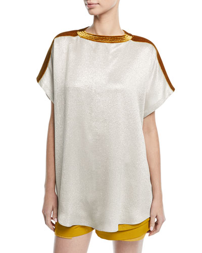 Short-Sleeve Oversized Hammered Lamé Top