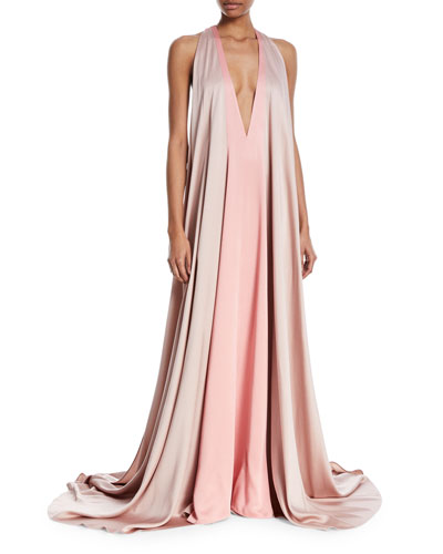 Sleeveless Deep-V Colorblock Evening Gown