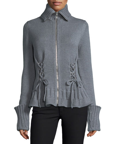 Chunky Lace-Up Zip-Front Sweater