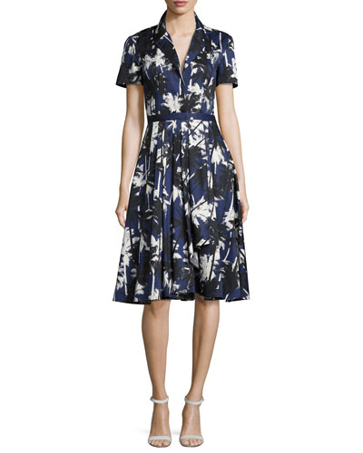 Short-Sleeve Palm-Print Shirtdress, Blue Pattern