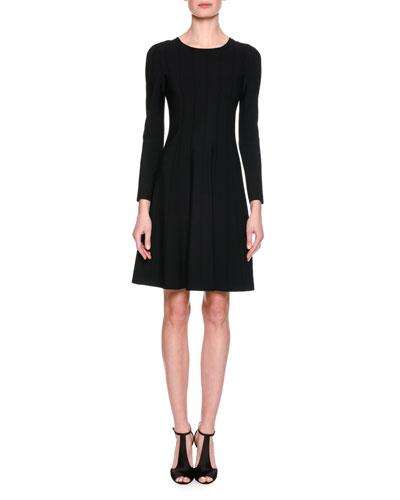 Long-Sleeve Jersey A-Line Dress