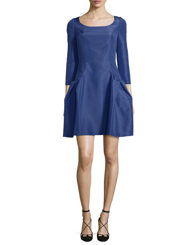 3/4-Sleeve Scoop-Neck Cocktail Dress, Cobalt