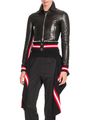 Striped-Hem Leather Jacket, Black/Multi