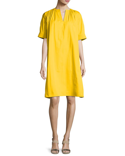 Cotton Faille Split-Neck Tent Dress