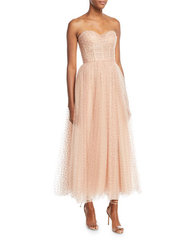Sweetheart-Neck Strapless Golden-Dot Tulle Cocktail Dress