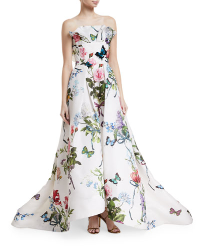 Ruffle-Neck Floral-Print Evening Gown with Train