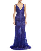 V-Neck Beaded Illusion Gown