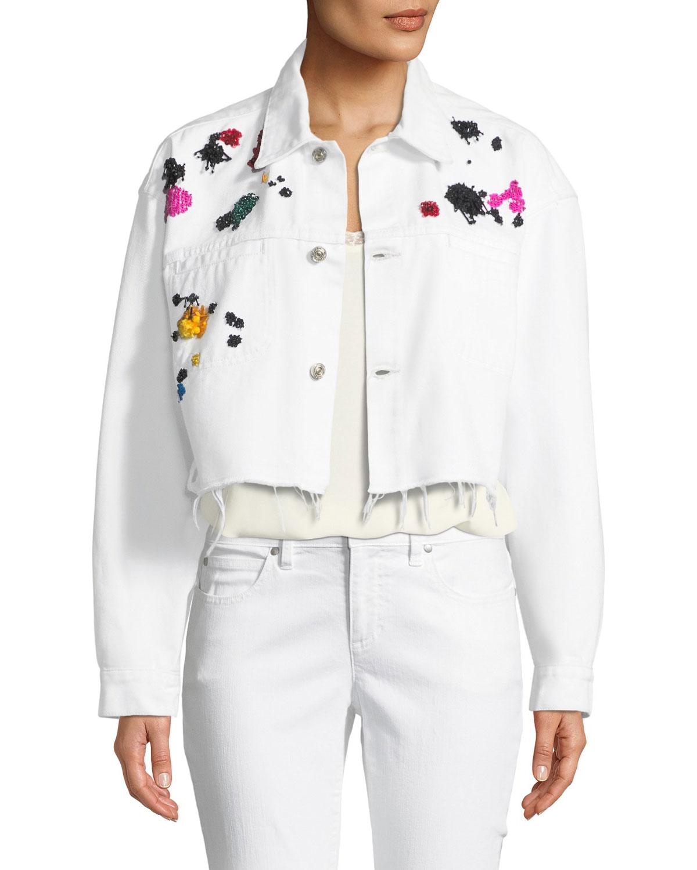 Splatter-Embroidered Denim Jacket