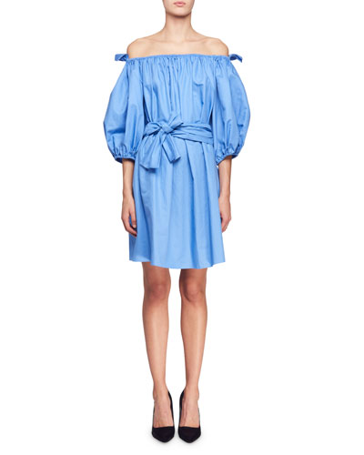Reyna Off-the-Shoulder Balloon-Sleeve Cotton Poplin Dress w/ Self Belt