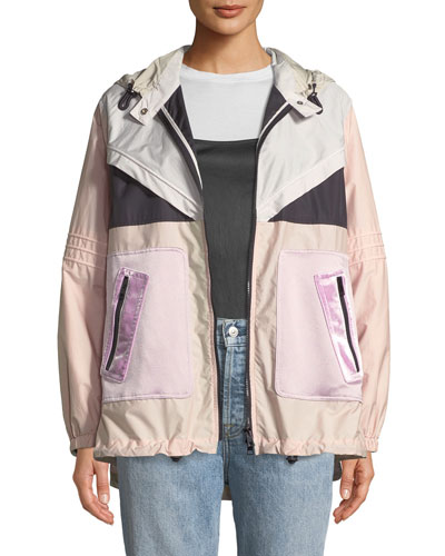 Long-Sleeve Techno Colorblocked Oversized Sport Parka Jacket