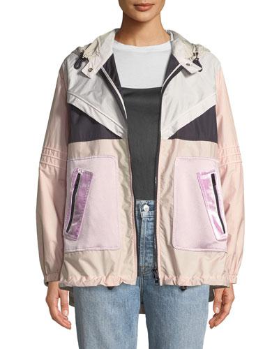 Long-Sleeve Techno Colorblocked Oversized Sport Parka Jacket