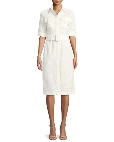 Short-Sleeve Button-Down Lace Shirtdress