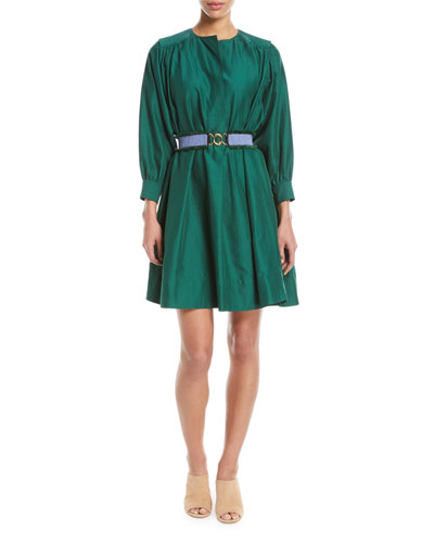 Long-Sleeve Belted Oversized Cotton Dress