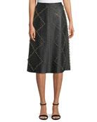 Studded A-Line Midi Leather Skirt