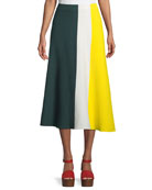 Colorblocked Cotton Knit Midi Skirt