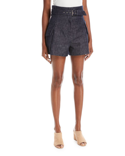 High-Waist Belted Denim Shorts with Patch Pockets