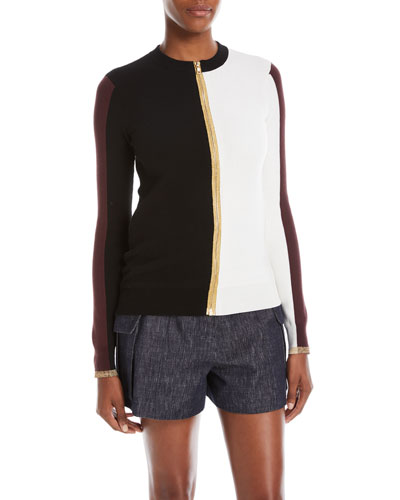 Colorblocked Zip-Front Knit Jacket
