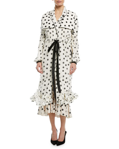 Dragon Pearl Polka Dot-Print Self-Belt Long-Sleeve Ruffled Trench-Style Dress
