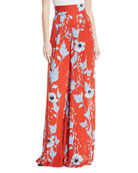 Land of Rivers High-Waist Wide-Leg Garden-Print Silk Pants